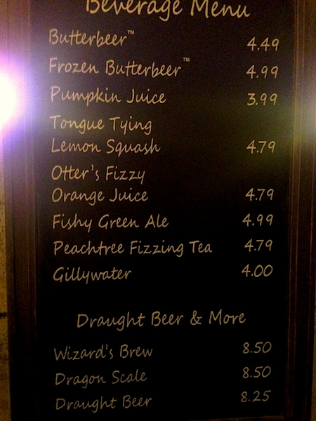 Leaky Cauldron drink menu