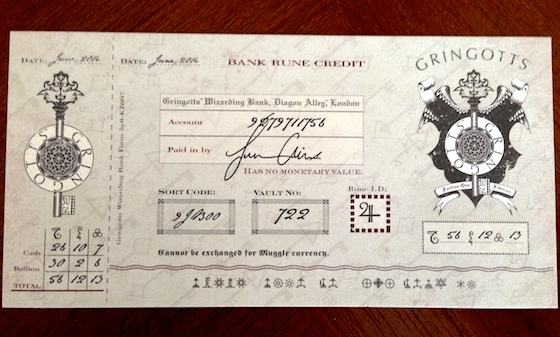 Gringotts bank deposit slip